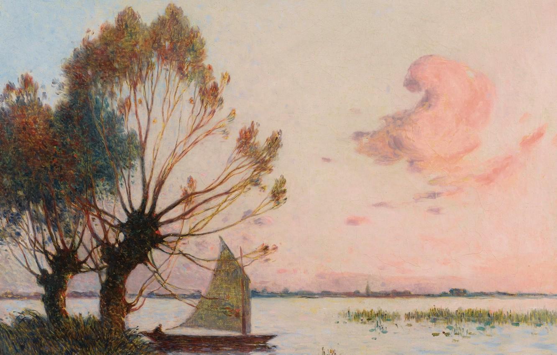Photo wallpaper landscape, boat, picture, sail, Ferdinand du Puigaudeau, Ferdinand du Plegado, Sailer at Marais de la …