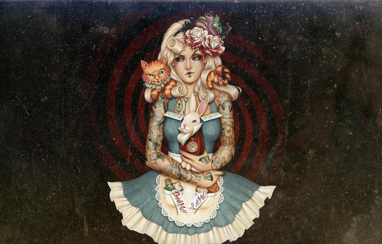 Photo wallpaper painting, artwork, illustration, Alice-in-Wonderland