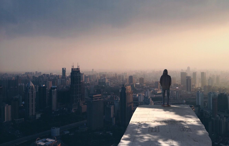 Photo wallpaper city, skyline, fog, alone, man, buildings, cityscape, person, standing, smog