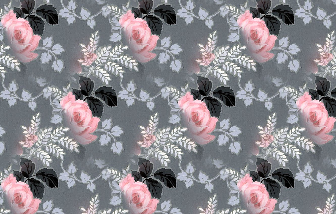 Photo wallpaper pattern, roses, texture, grey background, floral pattern