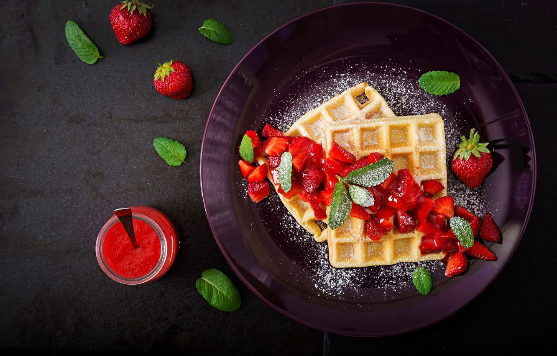 Photo wallpaper Strawberry, Dessert, Waffles