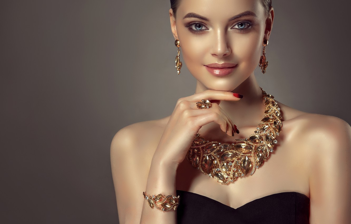 Photo wallpaper look, girl, style, model, Shine, hand, makeup, ring, hairstyle, lips, bracelet, decoration, blue eyes, shoulders, …