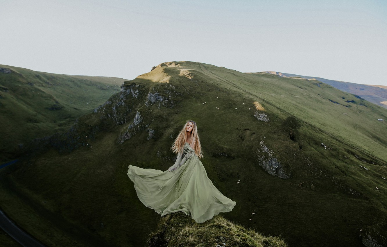 Photo wallpaper girl, mountains, nature, mood, the situation, dress, Rosie Hardy