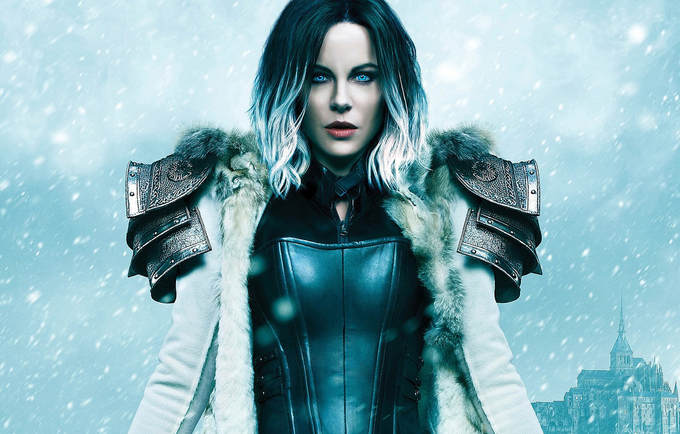Photo wallpaper winter, look, girl, snow, castle, fiction, the film, fantasy, hairstyle, costume, Kate Beckinsale, vampire, coat, …