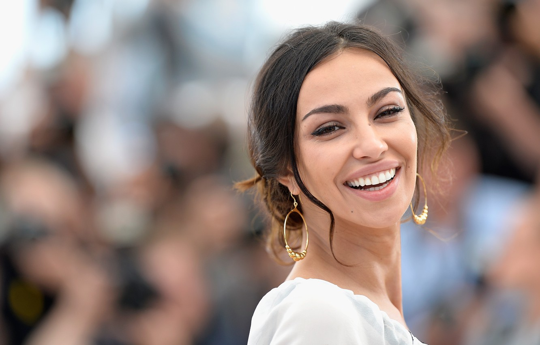 Photo wallpaper joy, smile, earrings, lips, brown hair, Madalina Diana Ghenea, Italian, Madalina Diana Ghenea