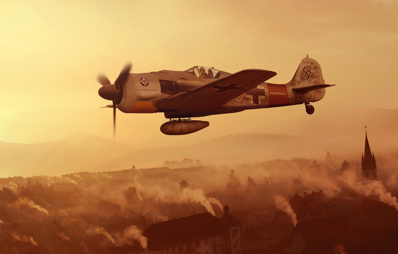 Photo wallpaper fighter, Germany, artwork, Air force, WWII, Focke -Wulf, Fw.190A-9, JG1