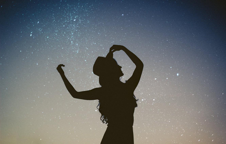 Photo wallpaper the sky, stars, night, silhouette