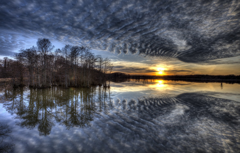 Photo wallpaper the sky, lake, morning