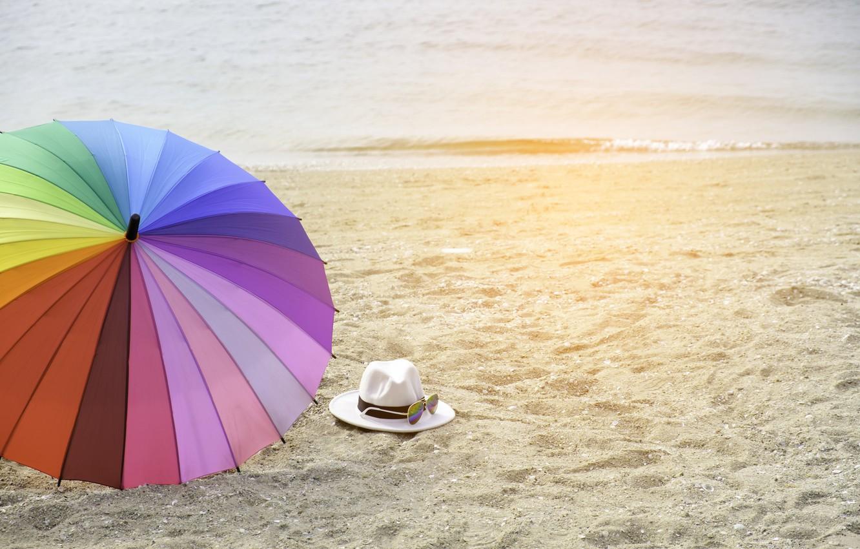 Photo wallpaper sand, sea, beach, summer, happiness, stay, umbrella, colorful, rainbow, summer, happy, beach, sea, umbrella, sand, …