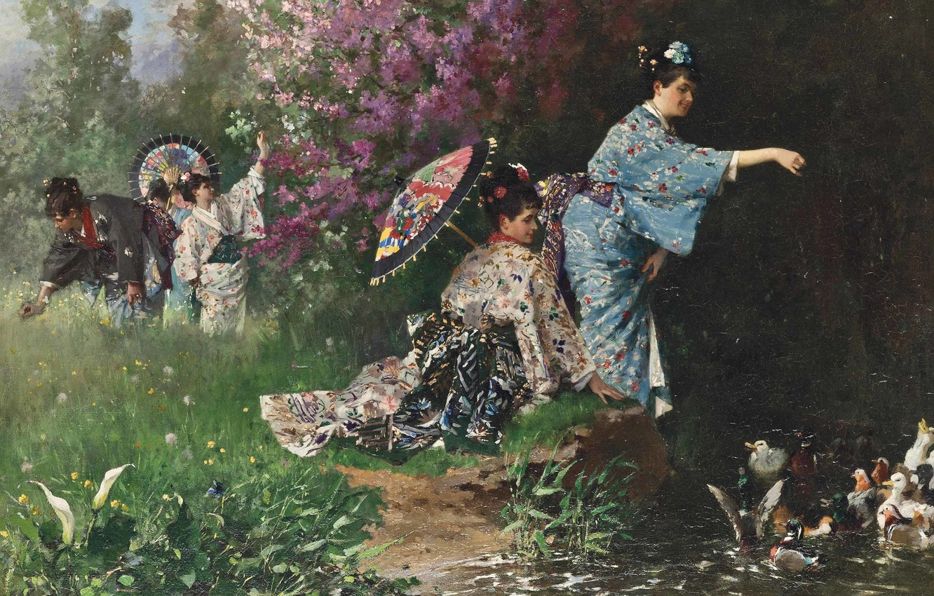 Photo wallpaper French painter, French painter, Philippe Jacques Linder, Philippe Jacques Linder, In the Japanese garden, In …