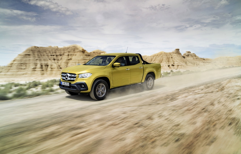 Photo wallpaper mountains, yellow, movement, vegetation, Mercedes-Benz, dust, plain, pickup, primer, 2017, X-Class