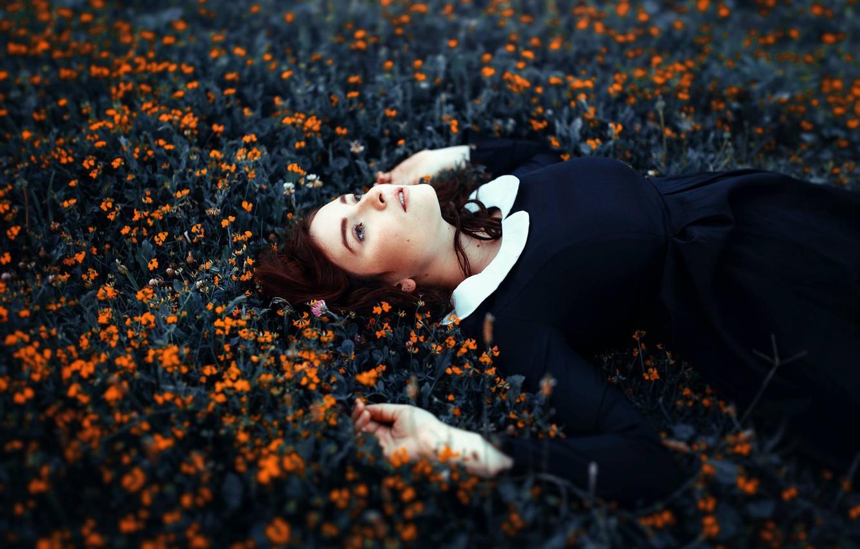 Photo wallpaper girl, flowers, mood, dress, Antonia Clio Cardenas