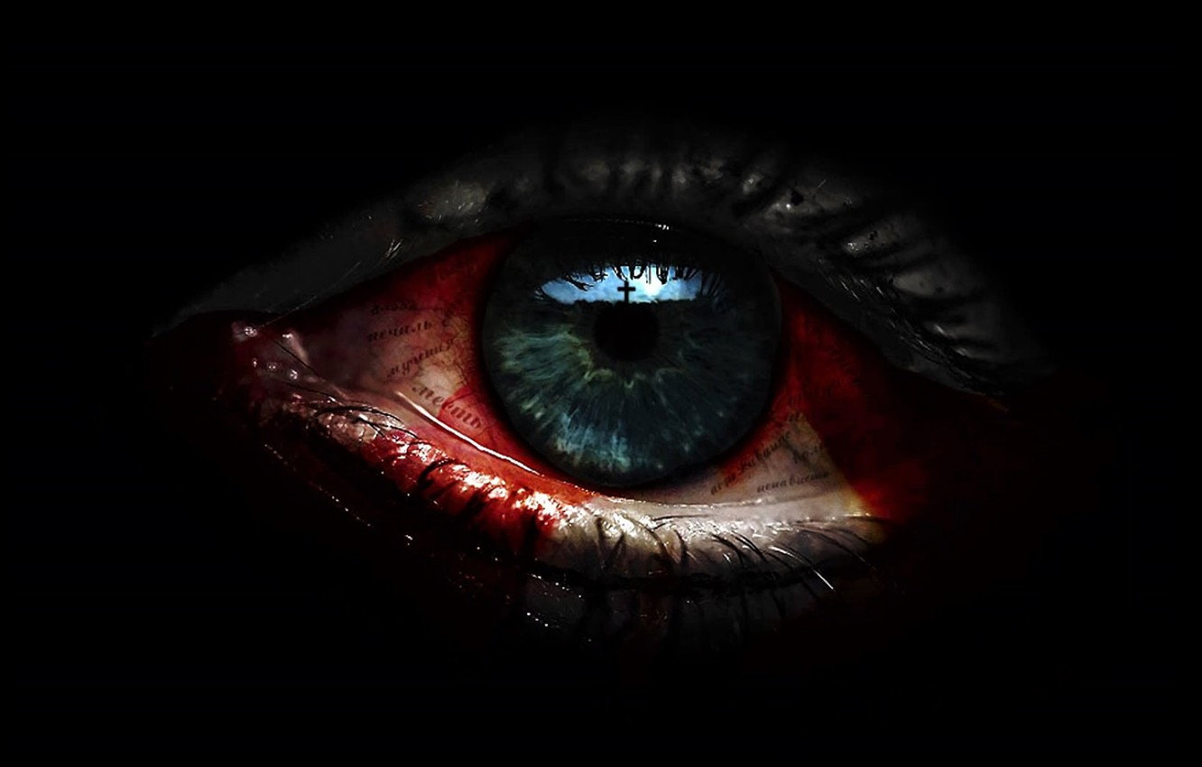 Photo wallpaper eyes, reflection, cross, bloody tears, in the dark, black magic