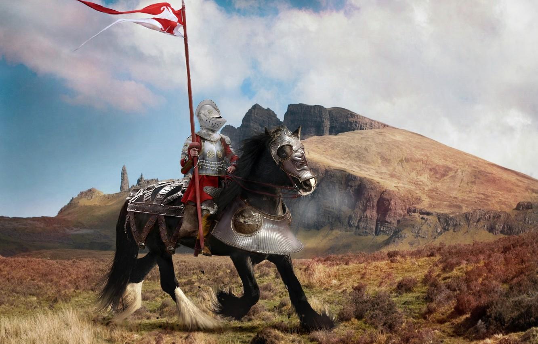 Photo wallpaper field, the sky, clouds, landscape, mountains, fantasy, horse, black, armor, flag, warrior, fantasy, helmet, rider, ...