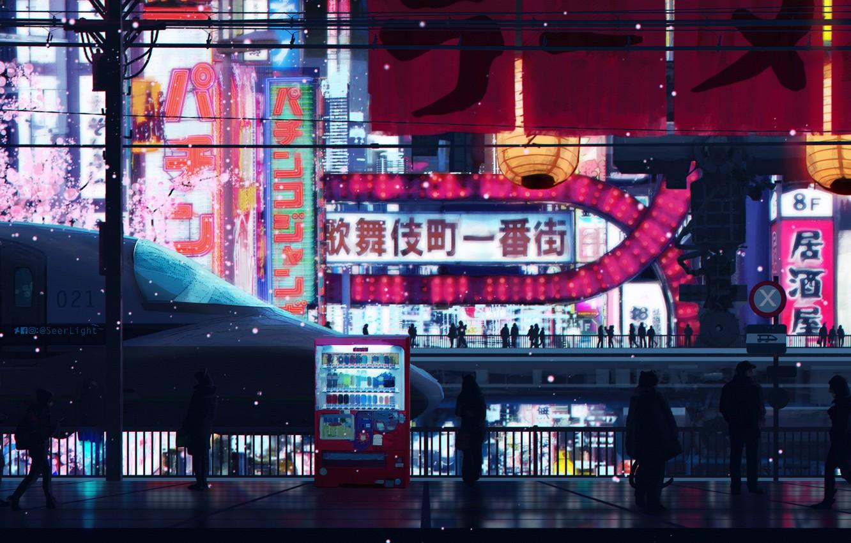 Photo wallpaper people, train, station, Japan, advertising, Tokyo, characters, Tokyo, Japan, platform, art, cherry blossoms, night city …