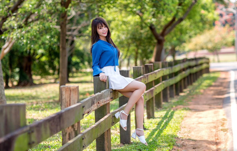 Photo wallpaper girl, the fence, legs, Asian, cutie, bokeh