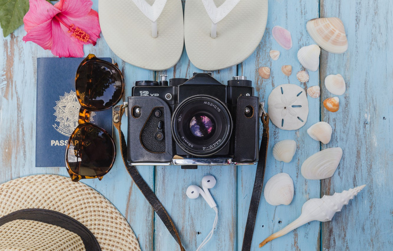 Photo wallpaper sea, flower, background, stay, hat, glasses, the camera, shell, slates, hibiscus