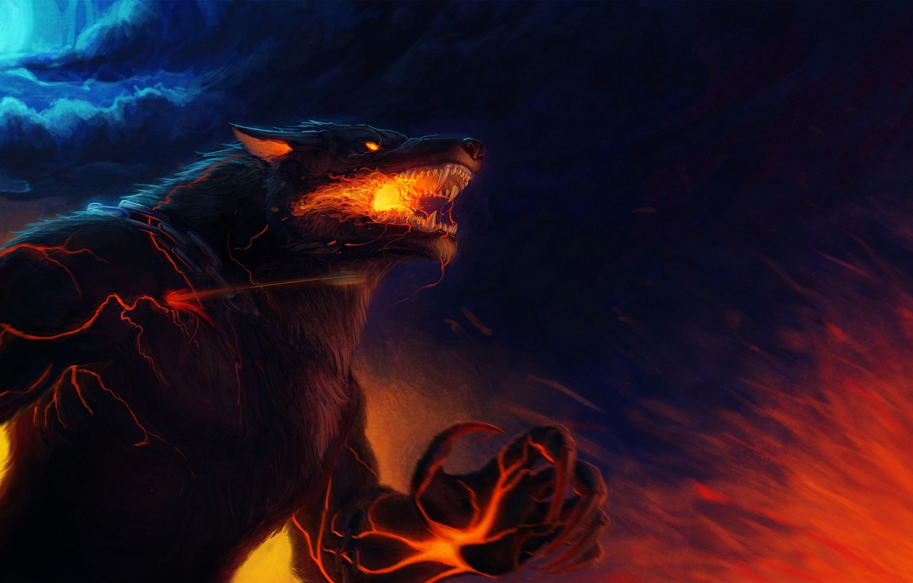 Photo wallpaper flame, wolf, predator, wool, rage, mouth, claws, fangs, pain, the full moon, werewolf, art, wolf, …