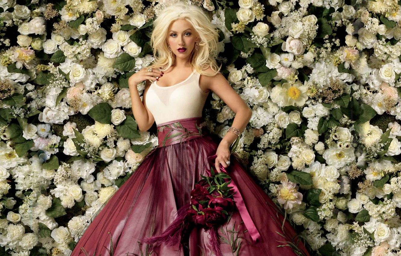 Photo wallpaper flowers, dress, singer, Christina Aguilera, Christina Aguilera