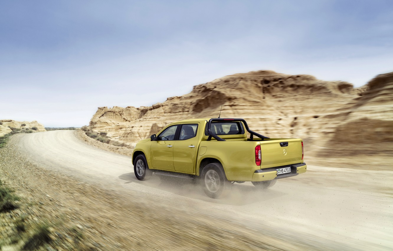 Photo wallpaper the sky, mountains, yellow, movement, vegetation, Mercedes-Benz, pickup, primer, 2017, X-Class