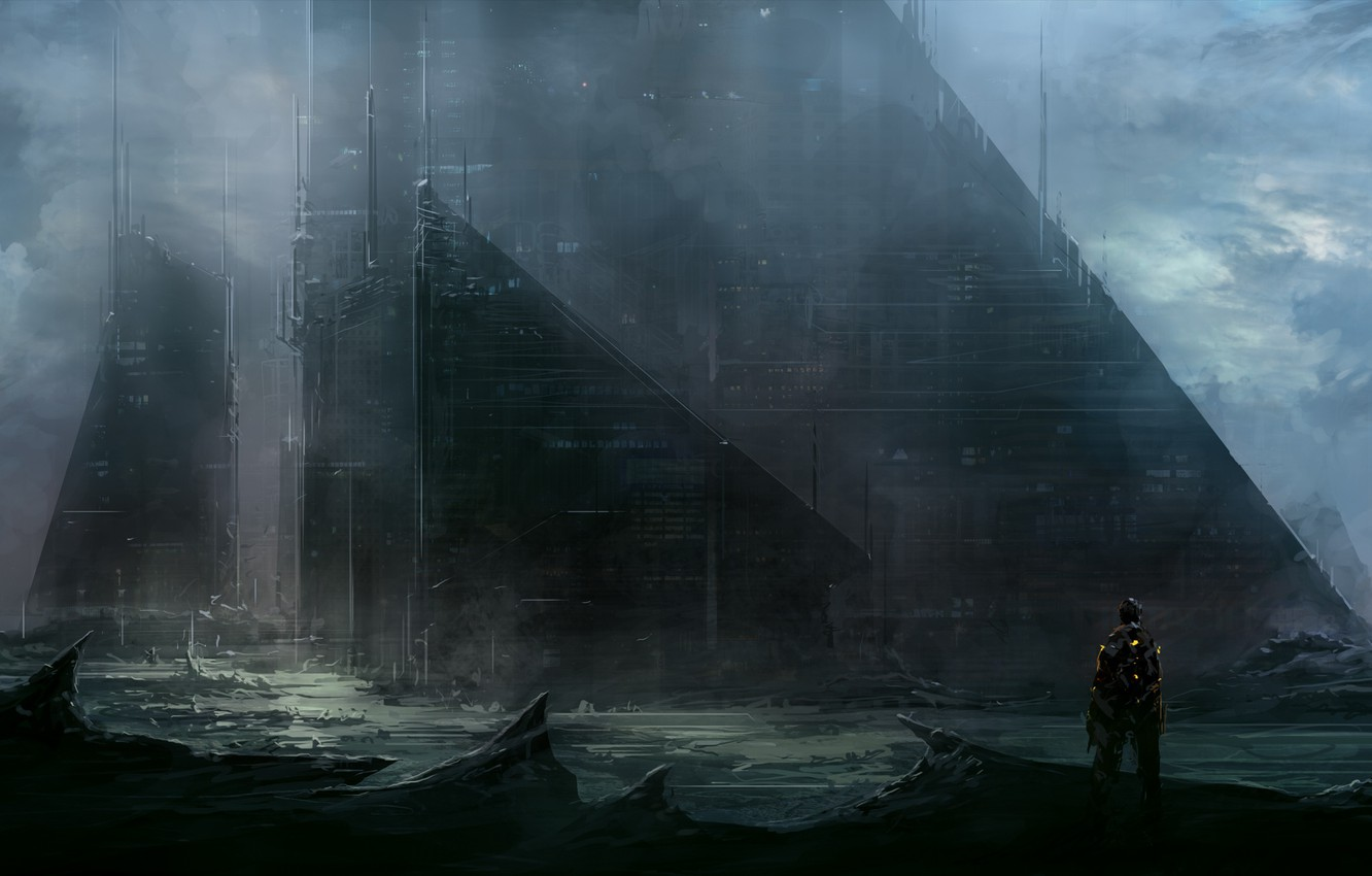 Photo wallpaper the building, people, ChrisCold, sci fi city wall