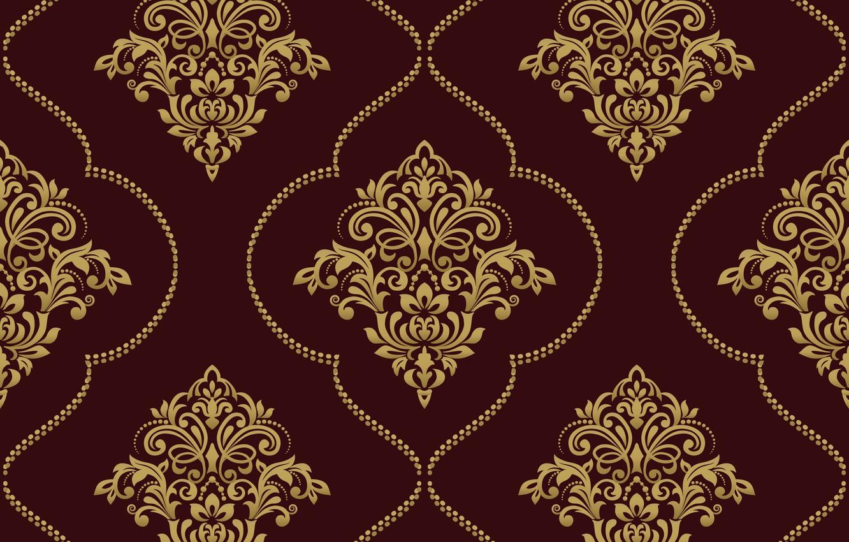 Photo wallpaper vector, gold, ornament, pattern, ornament, seamless, damask