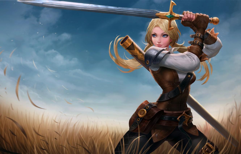 Photo wallpaper girl, sword, fantasy, field, weapon, Warrior, blue eyes, blonde, digital art, artwork, fantasy art