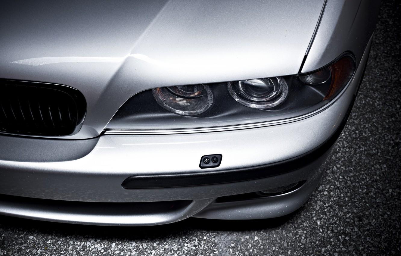 Photo wallpaper BMW, E39, Silver, Asphalt, Angel Eye