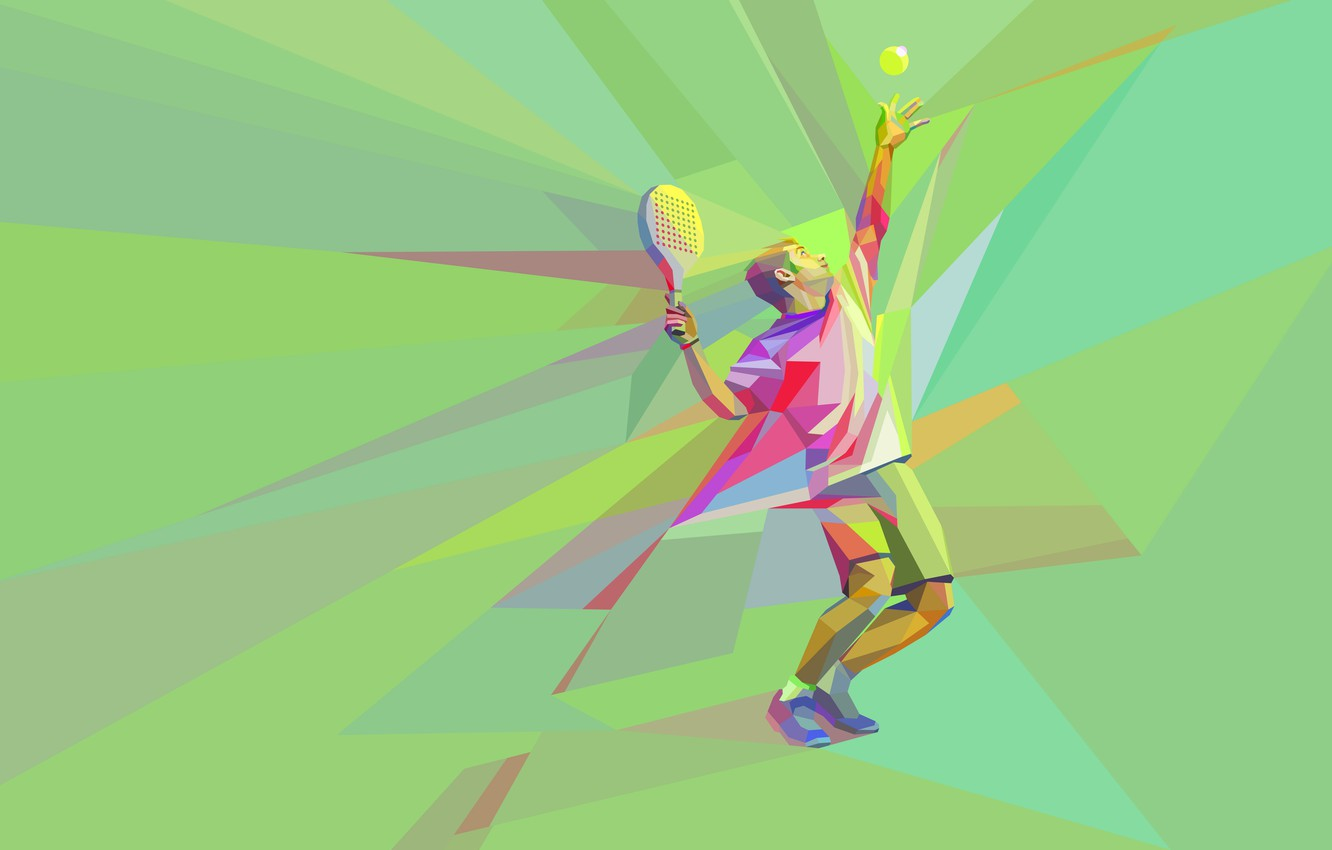 Photo wallpaper the game, the ball, racket, tennis, tennis player, low poly