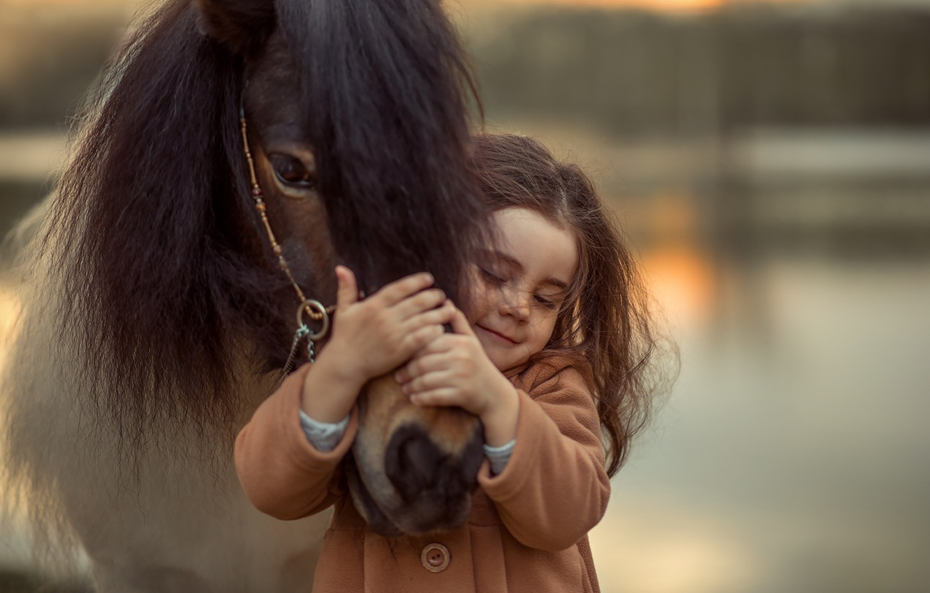 Photo wallpaper emotions, horse, girl
