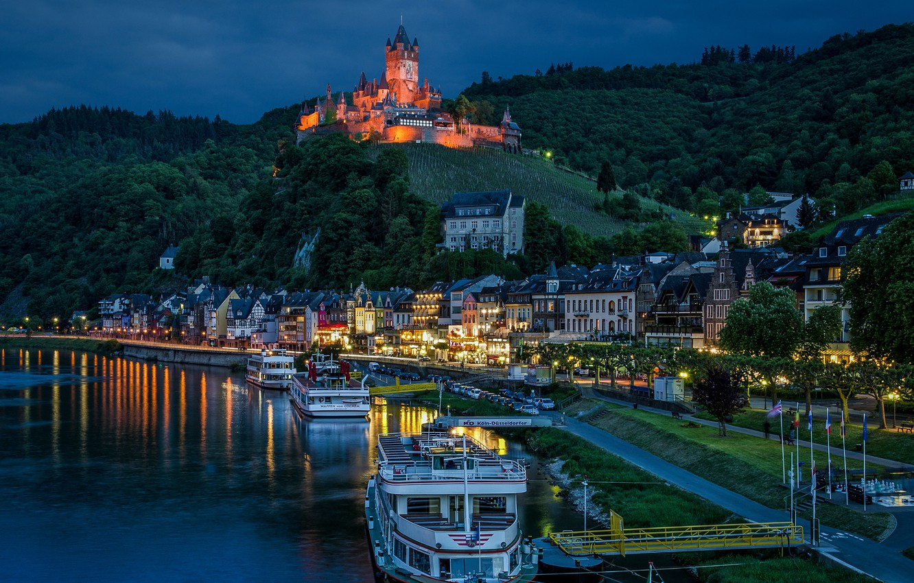 Photo wallpaper river, castle, Marina, home, Germany, night city, Germany, Cochem, Cochem, Moselle River, ships, Rhineland-Palatinate, Cochem ...