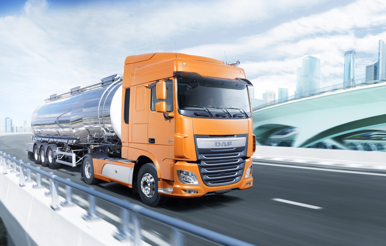 Photo wallpaper orange, the city, movement, highway, DAF, tank, tractor, DAF, Space Cab, 2016, the trailer, 4x2, …