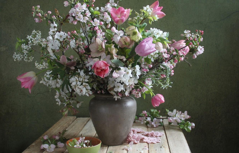 Photo wallpaper cherry, spring, tulips, vase, hellebore