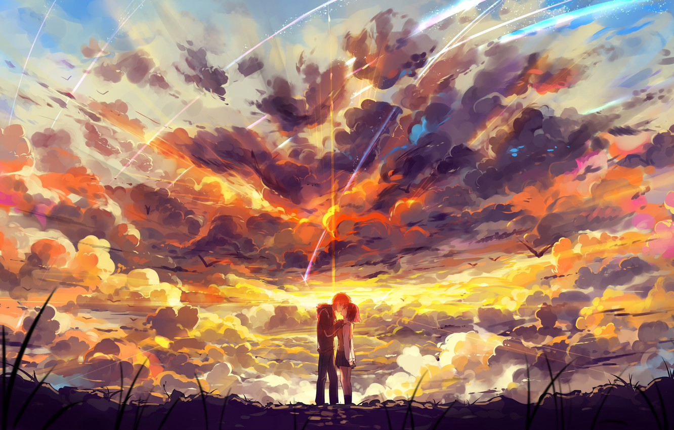 Photo wallpaper the sky, girl, clouds, sunset, birds, kiss, anime, art, form, guy, two, students, haraguroi you, …