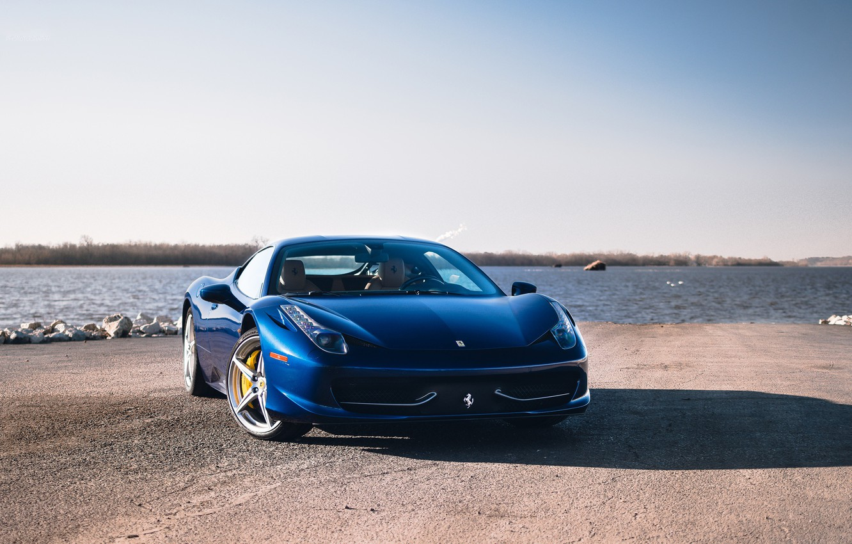 Photo wallpaper Ferrari, 458, blue, Italia