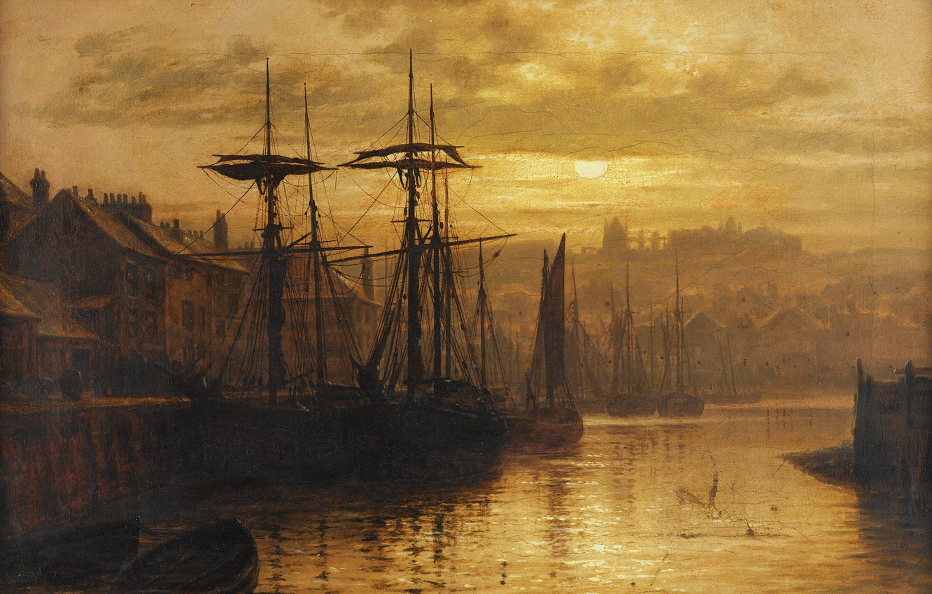 Photo wallpaper The evening, The city, Ships, Louis Hubbard Grimshaw