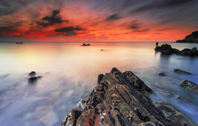 Photo wallpaper sea, sunset, coast, the evening
