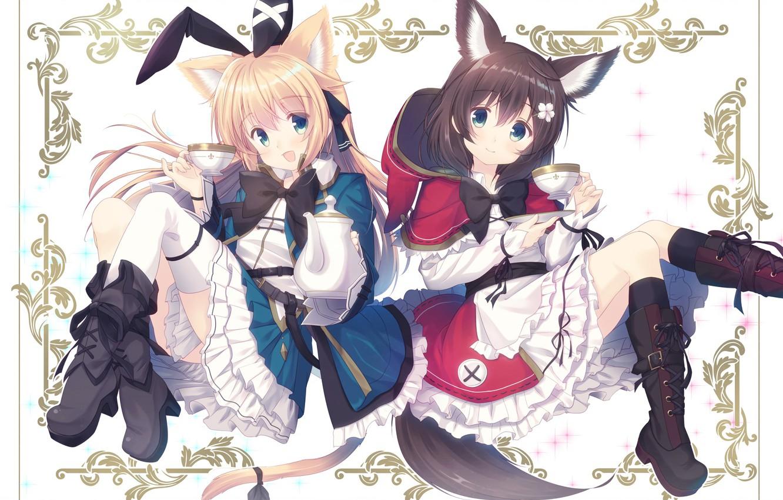 Photo wallpaper girls, anime, art, kitties