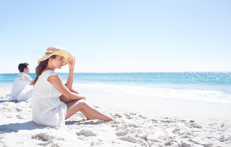 Photo wallpaper Sea, Beach, Girl, Guy, Stay