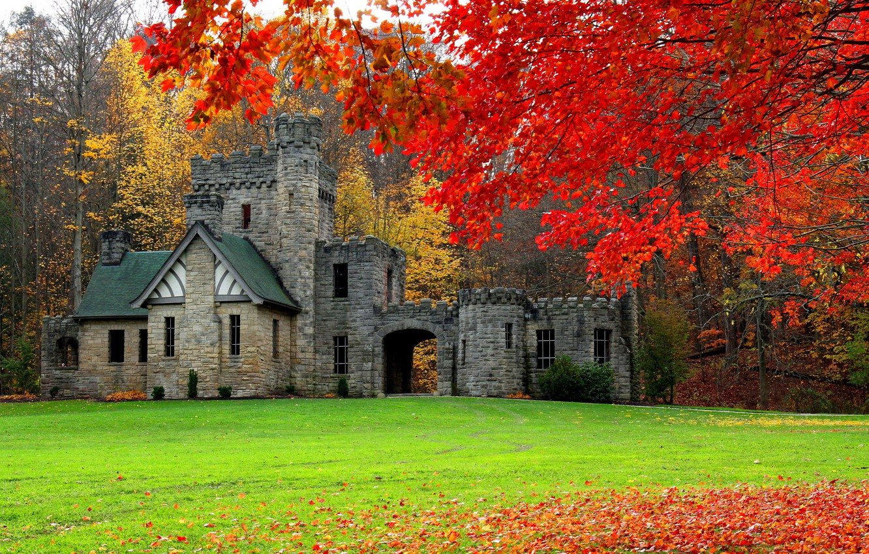 Photo wallpaper autumn, forest, castle, USA, Cleveland, Squire's Castle