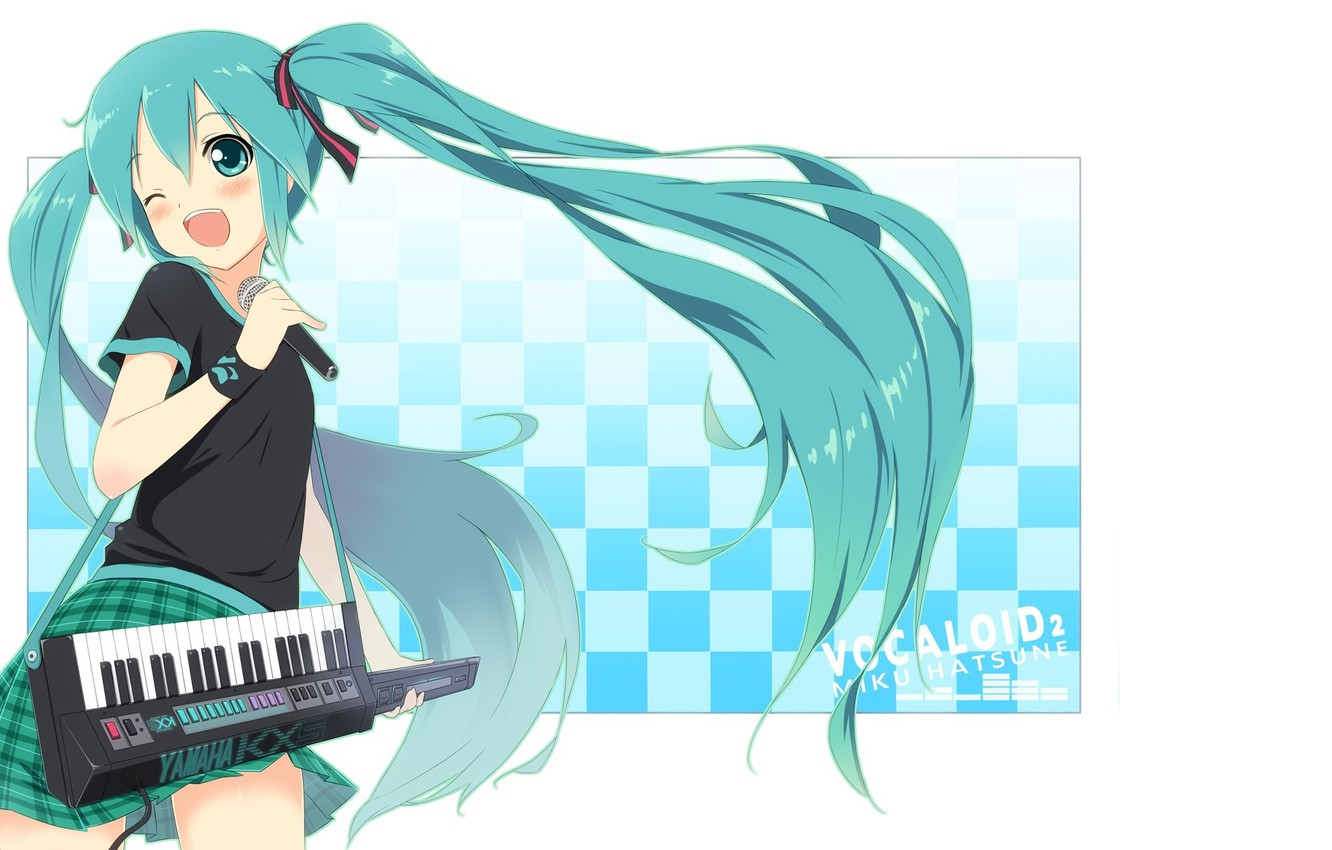 Photo wallpaper microphone, vocaloid, Hatsune Miku, long hair, Vocaloid, synth, wink, singing, two tails, keyboards, chess square