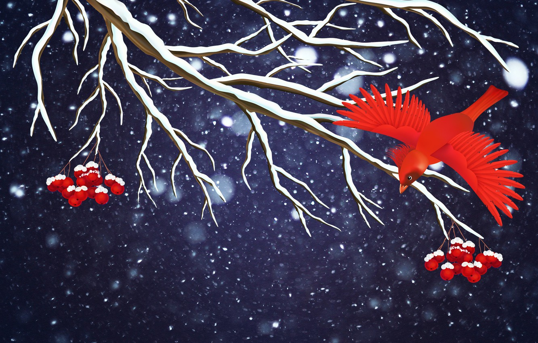 Photo wallpaper Winter, Minimalism, Bird, Snow, Branch, Snowflakes, Background, Rowan, Holiday