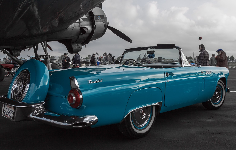 Photo wallpaper retro, Ford, classic, the airfield, 1956, Thunderbird