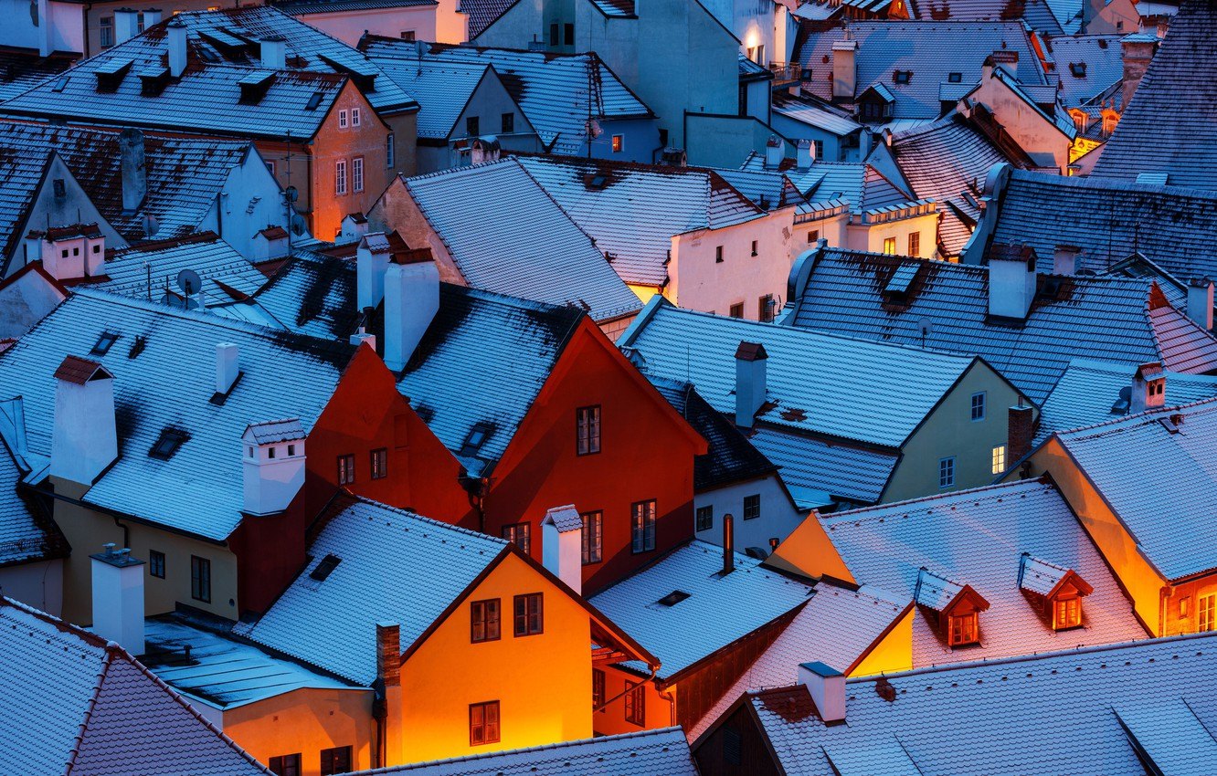 Photo wallpaper winter, light, snow, the city, home, the evening, morning, roof, Czech Republic