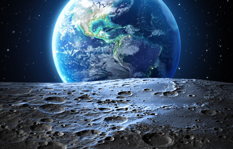 Photo wallpaper stars, earth, the moon