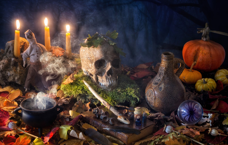 Photo wallpaper leaves, bubbles, magic, Mac, skull, moss, candles, doll, feathers, pumpkin, Halloween, Halloween, bowler, book, pitcher, …