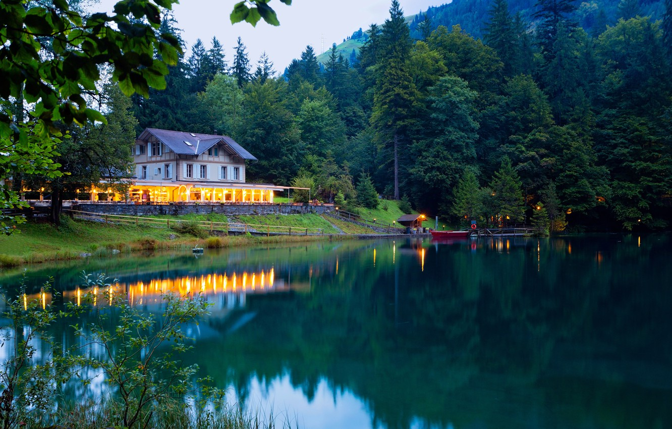 Photo wallpaper greens, forest, trees, mountains, lights, lake, house, boat, the evening, Switzerland, pier, Kandersteg Valley