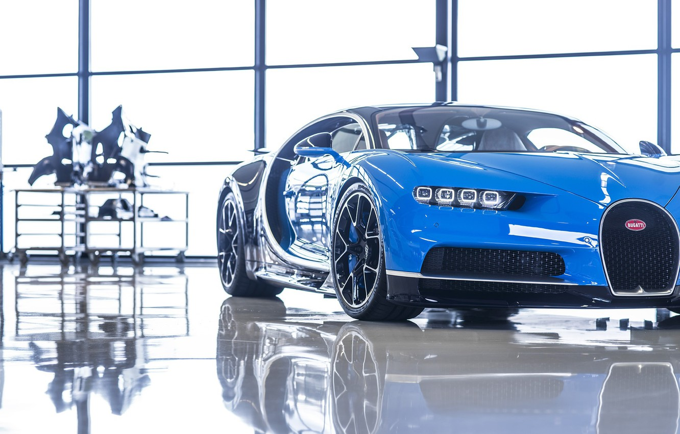 Photo wallpaper Bugatti, Blue, Black, White, Reflection, VAG, W16, Chiron