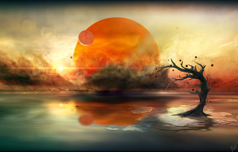Photo wallpaper the sun, clouds, tree, planet, alien calm