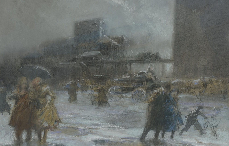 Photo wallpaper picture, the urban landscape, Everett Shinn, Everett Shinn, Cooper Square
